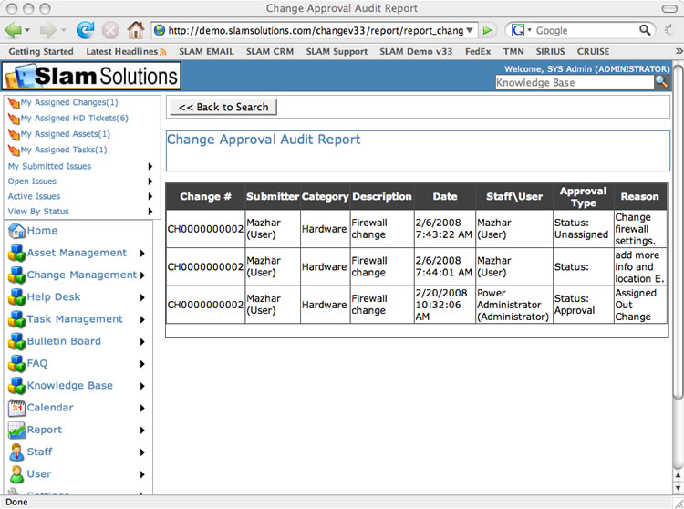SLAM Change Management Software - Screenshot Gannt Report
